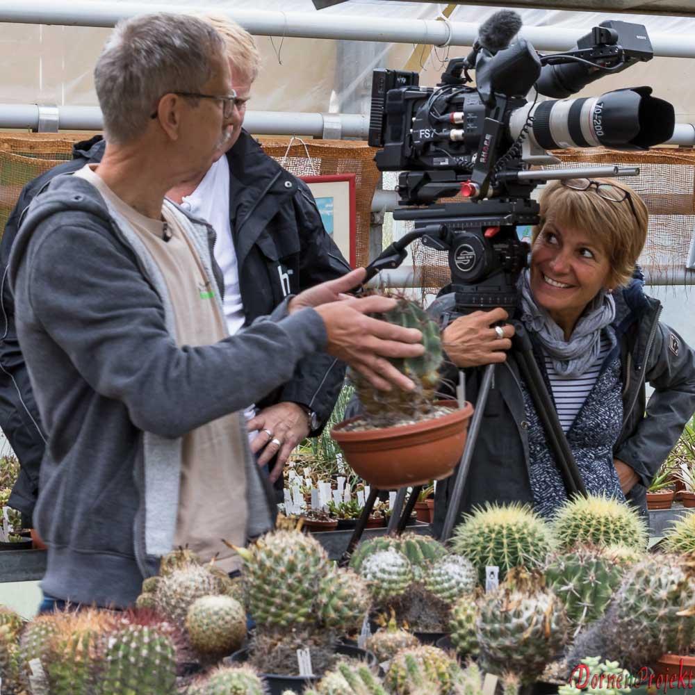 Auch die Kamerafrau ist sichtlich von unseren Kakteen angetan©DornenProjekt.de Schnappschuß vom Drehtag in Otzberg, Für die HR Serie Herrliches Hessen.